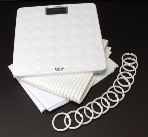 Taylor Tub Kit includes Lithium Scale, Shower Curtain, Rings and Non-Slip Bath Mat