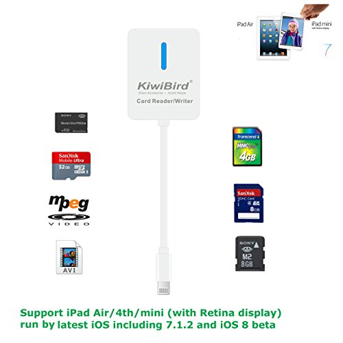 KiwiBird ® NEU OTG 5-in-1 Memory Card Reader/ 8 PIN Digital Camera Connection Kit Adapter mit 130 MM Kabel für Apple iPad 4/5/Air/ iPad mini/iPad mini 2 mit Retina-Display | Unterstützt Micro SD (TF)/ SDHC/ SD/ MS DUO (SONY)/ MMC/ M2 Karte | Support MPEG-4 / AVI-Videos und JPEG / RAW Bilder - iOS 7.X Kompatibel