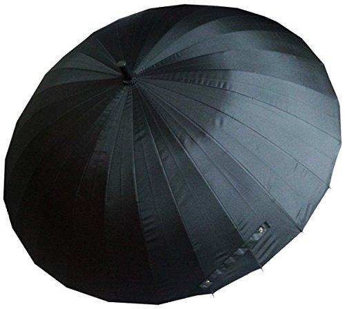 【BeryKoKo】 超撥水&悪天候に強い 大型 120cm 新強化グラスファイバー採用 24本骨傘 長傘 ブラック 黒 無地 撥水 加工 (Berykoko-0232)