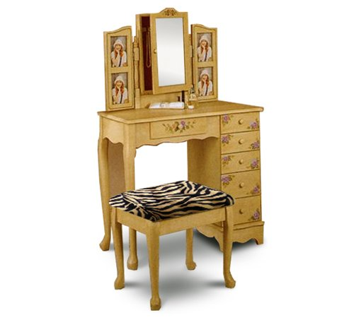 Off White / Ivory Finish Make up Vanity Table with Brown Zebra Faux Fur Seat Cushion Bench & Mirror