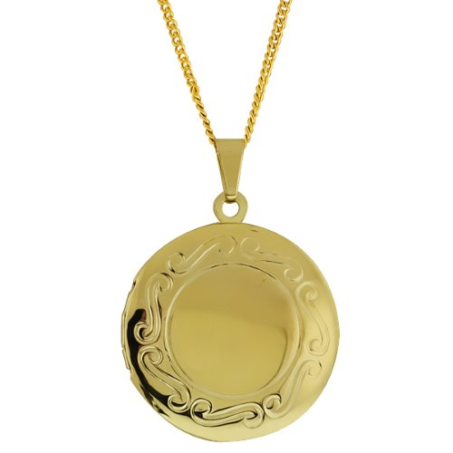 1 Inch Stunning Gold Tone Round Shaped Locket Pendant Necklace With 18