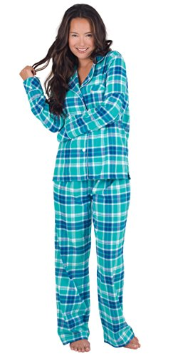 PajamaGram Women's Wintergreen Plaid Boyfriend Pajamas
