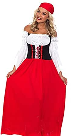 COSWE Women's Renaissance Tavern Beer Girl Beer Girl Wench Bavaria Long Costume