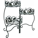 Lawn & Patio - Panacea Products 3-Tiered Folding Scroll  and  Ivy Plant Stand Black with Brushed Bronze Leaves