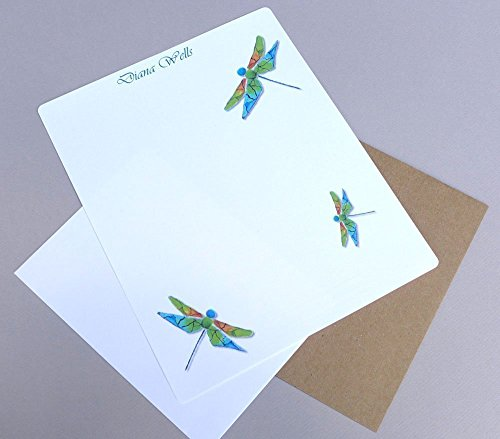 Women's Personalized Dragonfly Monogrammed Writing Paper Stationery Set, Monogram Stationary, Girl's Complete Custom Correspondence Kit With Envelopes (Personalized Writing Paper compare prices)