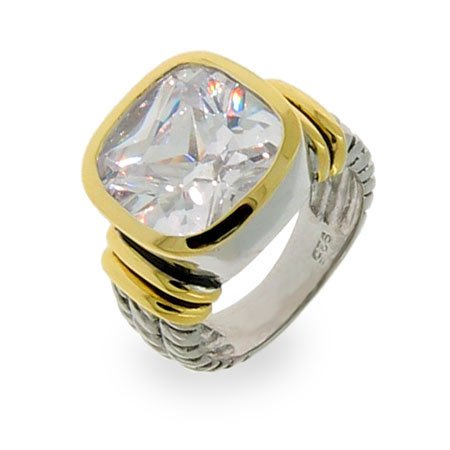 Sterling Silver Diamond CZ Cushion Cut Cable Ring Size 7 (Sizes 5 6 7 8 9 Available)