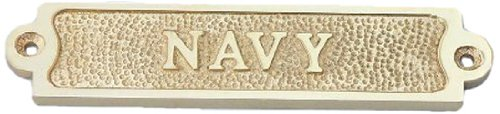 "Hampton Nautical  Solid Brass Navy Sign, 3"", Brass"