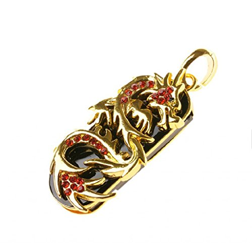 SUNWORLD 32GB Dragon Design USB 2.0 Flash Drive with Red Diamond Surface