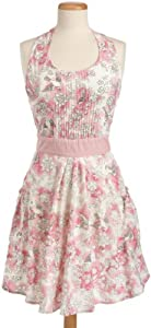 DII 100% Cotton Vintage Blushing Birds Print Full Apron with Bib Pin-Tucking and 2 Side Pockets
