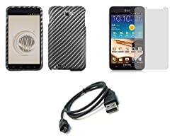Samsung Galaxy Note Premium Combo Pack - Carbon Fiber Design Hard Case + ATOM LED Keychain Light + Screen Protector + Micro USB Cable