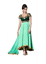 Sea Green Georgette Embroidered Partywear Anarkali Suit