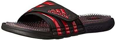 adidas Men's Adissage Fade Slide Sandal, Core Black/University Red/Black 1, 10 M US