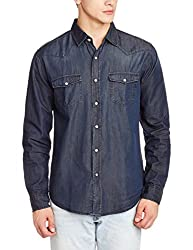Fox Men's Casual Shirt (439034110440_439034_Large_Denim)