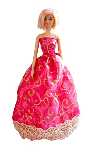 Barbie Handmade Gown, Hot Pink Gown with Gold Print, Made to Fit Barbie Doll