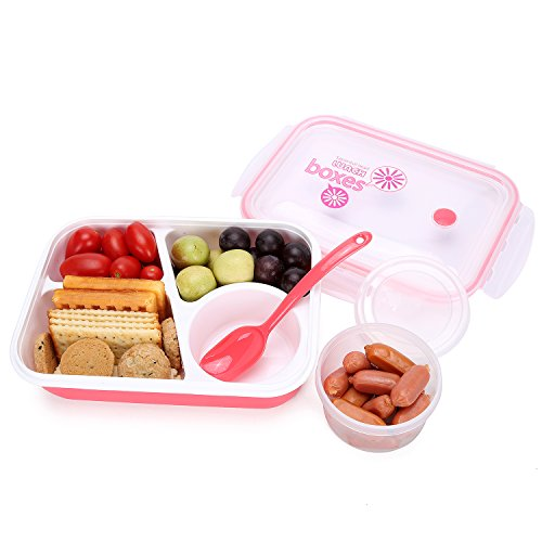 Bento Box Lunch Box 3-compartment 1-bowl (4 in 1) 1- Spoon - Silicone Leakproof Healthy Lunch Boxes for Kids Adults - Food Grade Plastic Containers Crisper - Special Smart Valve Microwave-safe Red (Lunch Containers For Toddlers compare prices)
