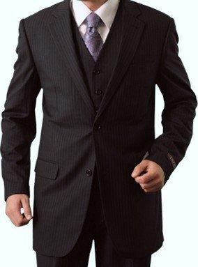 Elegant Men's Two button Three piece Strip Suit (36Short, Navy)
