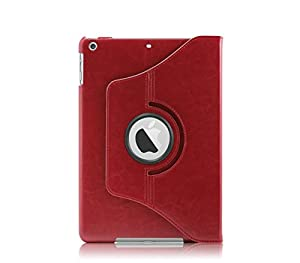 KHOMO PU Leather 360 Degree Rotating Stand Case with Magnetic Smart Cover for New Apple iPad Air - Red