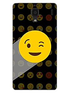 Whatsapp Emoji - Naughty Wink - Black - Hard Back Case Cover for Xiaomi RedMi 1S - Superior Matte Finish - HD Printed Cases and Covers