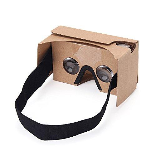virtoba Google V2Immersive 3D Virtual Reality Casque Grande lentille 3D VR Carton Verres avec tête verlängertem Strap Nez Pad pour écran 3.5-6.0zoll Android & Smartphones IOS