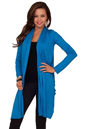Seamless Open Collar Long Sleeve Knee Length Cardigan: Clothing