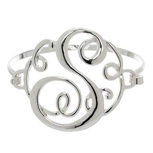 PammyJ Silvertone Initial Bangle Bracelet