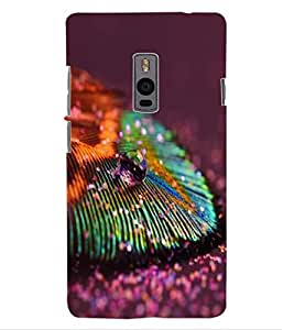 ColourCraft Peacock Feather Design Back Case Cover for ONEPLUS TWO