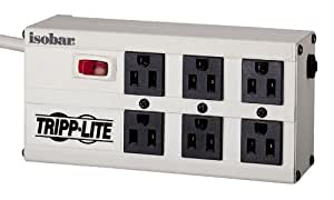 Tripp Lite Isobar 6 Outlet Surge Protector Power Strip 6ft Cord Right Angle Plug 3300 Joules (ISOBAR6)