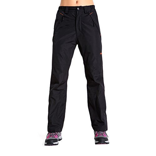Clothin Womens Snow Ski Pants / Waterproof/ Snowboard Pants - DWR Treated - Adjustable Gaiter(US 4-6,Black)