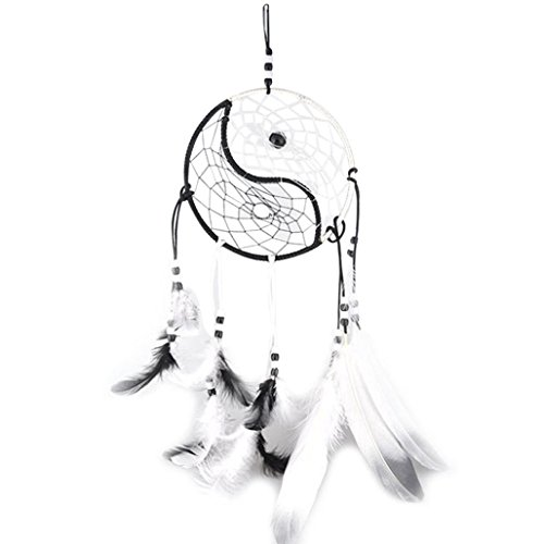 Dream Catcher, RIUDA Circular White Feathers Wall Hanging Decoration Decor Craft