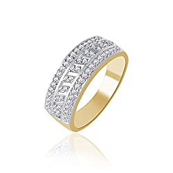 V. K. Jewels Sparkle Gold And Rhodium Plated Ring For Women - Fr1119G Size 10 [Vkfr1119G10]