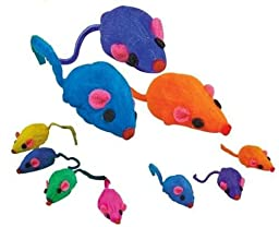 20 x Cat Toy Rainbow Fur Mice That Rattle by Zanies
