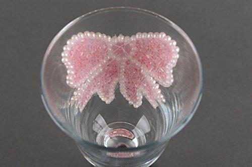 Verres à champagne fait main Vaisselle en verre avec n?uds roses Cadeau original