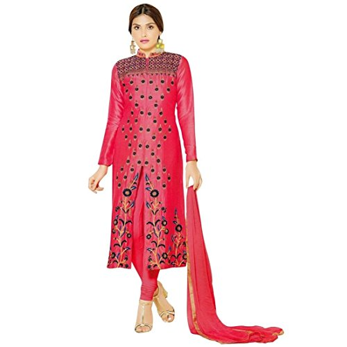 Designer-Silky-Cotton-Rich-Embroidered-Salwar-Kameez-Suit-Indian