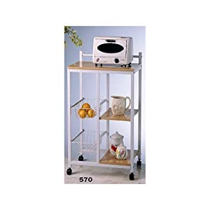 Kitchen Serving Cart White & Natural Finish by HPP by Asia Direct