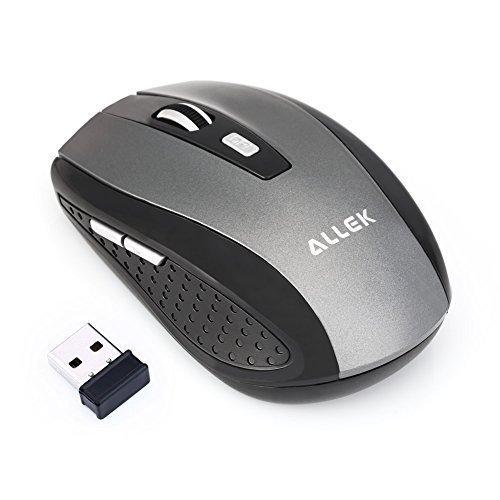 Allek® G109 2.4G Schnurlos Maus Wireless Mouse 2.4G 1600 DPI 6 Tasten Optische Mäuse mit USB Nano Empfänger Für PC Laptop iMac Macbook Microsoft Pro Gamer Silber-grau