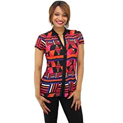 NY Collection Women's Short Sleeve Printed Button Down Shirt