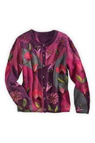 Tey-Art Dahlia Intarsia Alpaca Fair Trade Cardigan
