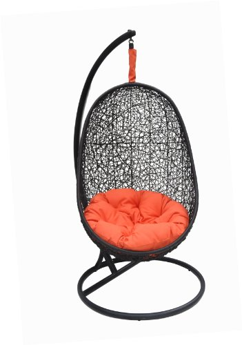 Belina - Black Synthetic Wicker Porch Swing Chair - Great Hammocks - Model - Y9037BK photo