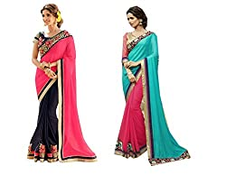 Pragya creations Women's Chiffon Saree (Prag33_Multi)-pack of 2