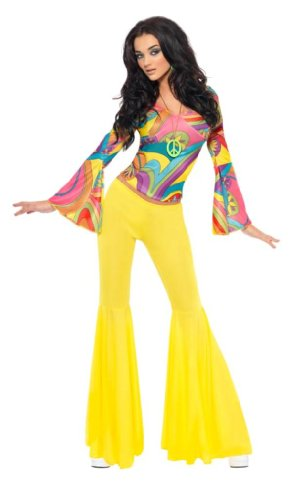 Smiffy's 70's Groovy Babe Costume with Top and Yellow Flares - Small, Med