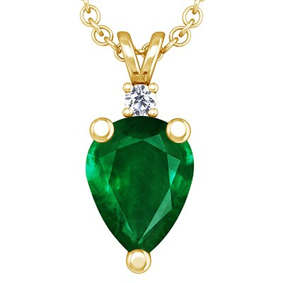 18K Yellow Gold Pear Cut Emerald And Round Diamond Pendant (GIA Certificate)