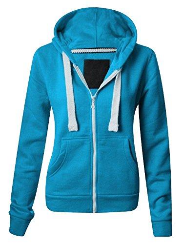 NEW LADIES WOMENS PLAIN HOODIE HOODED ZIP TOP ZIPPER SWEATSHIRT JACKET COAT Turquoise UK 8 / AUS 10 / US 4