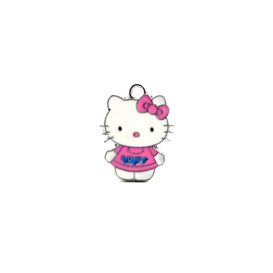 12X DIY Jewelry Making Hello Kitty Charm Enamel Pendant/Light Pink Dress with Blue Hearts