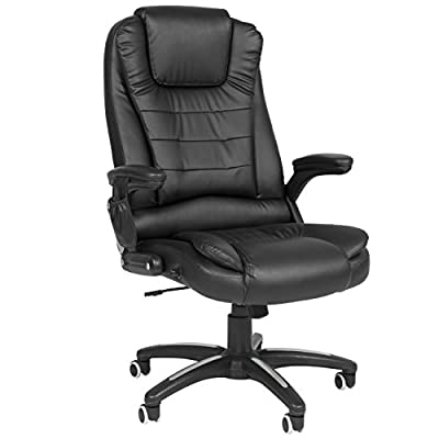 Best Choice Products Executive Ergonomic Heated Vibrating Computer Desk Office Massage Chair Black
