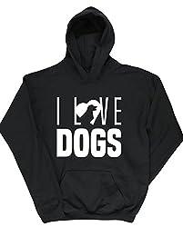 HippoWarehouse I Love Dogs kids unisex Hoodie hooded top