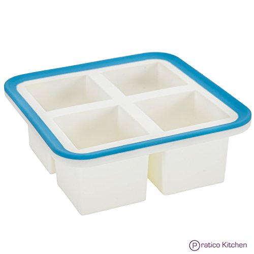 Superb Cube 2 Inch Cube Silicone Ice Cube Tray with EZ-Release & No-Spill Steel Reinforced Rim - Makes 4 Cubes (Ice Block Tongs compare prices)