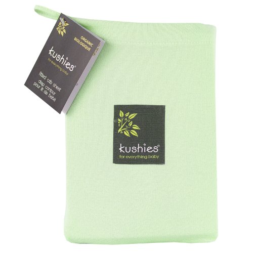 Kushies Organic Jersey Crib Fitted Sheet, Green
