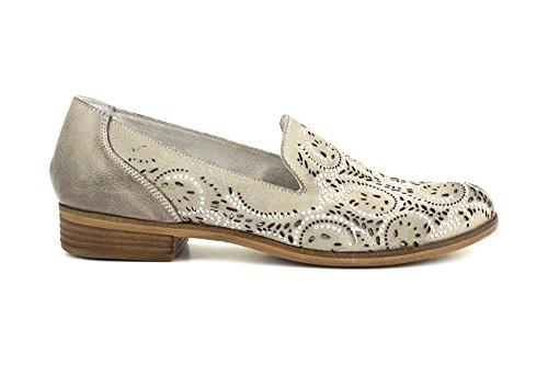 CAFè NOIR EL142 perla beige scarpe donna tipo mocassino fori strass 38