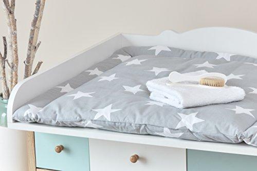 minififia wickelauflage gro e wei e sterne auf grau breit 78 x tief 78 cm z b f r malm oder. Black Bedroom Furniture Sets. Home Design Ideas