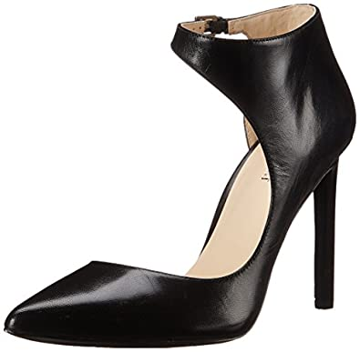 Nine West Women's Teecup Leather Dress Pump, Black, 10 M US